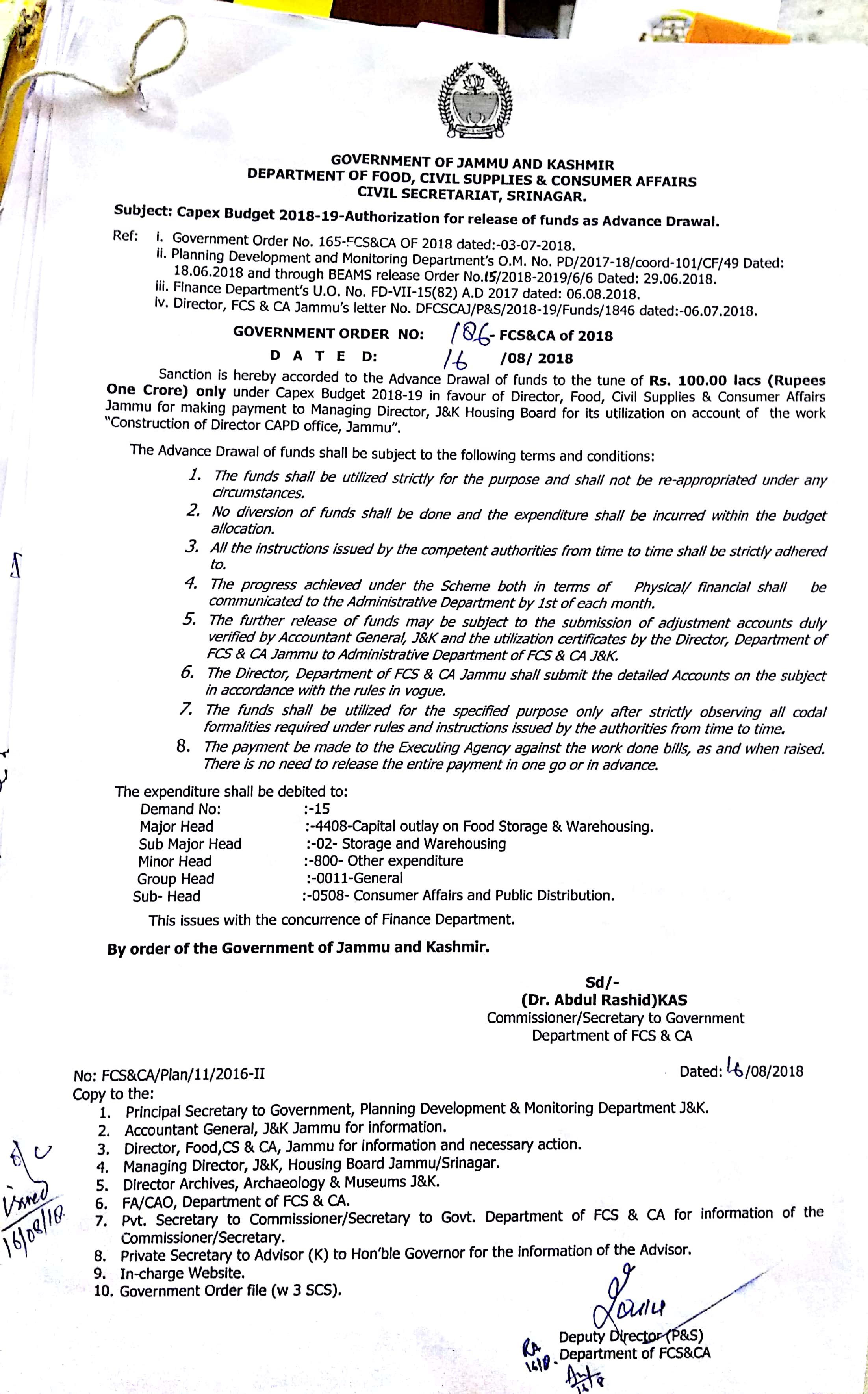 Latest News - Department of FCSCA : J & K Government, India